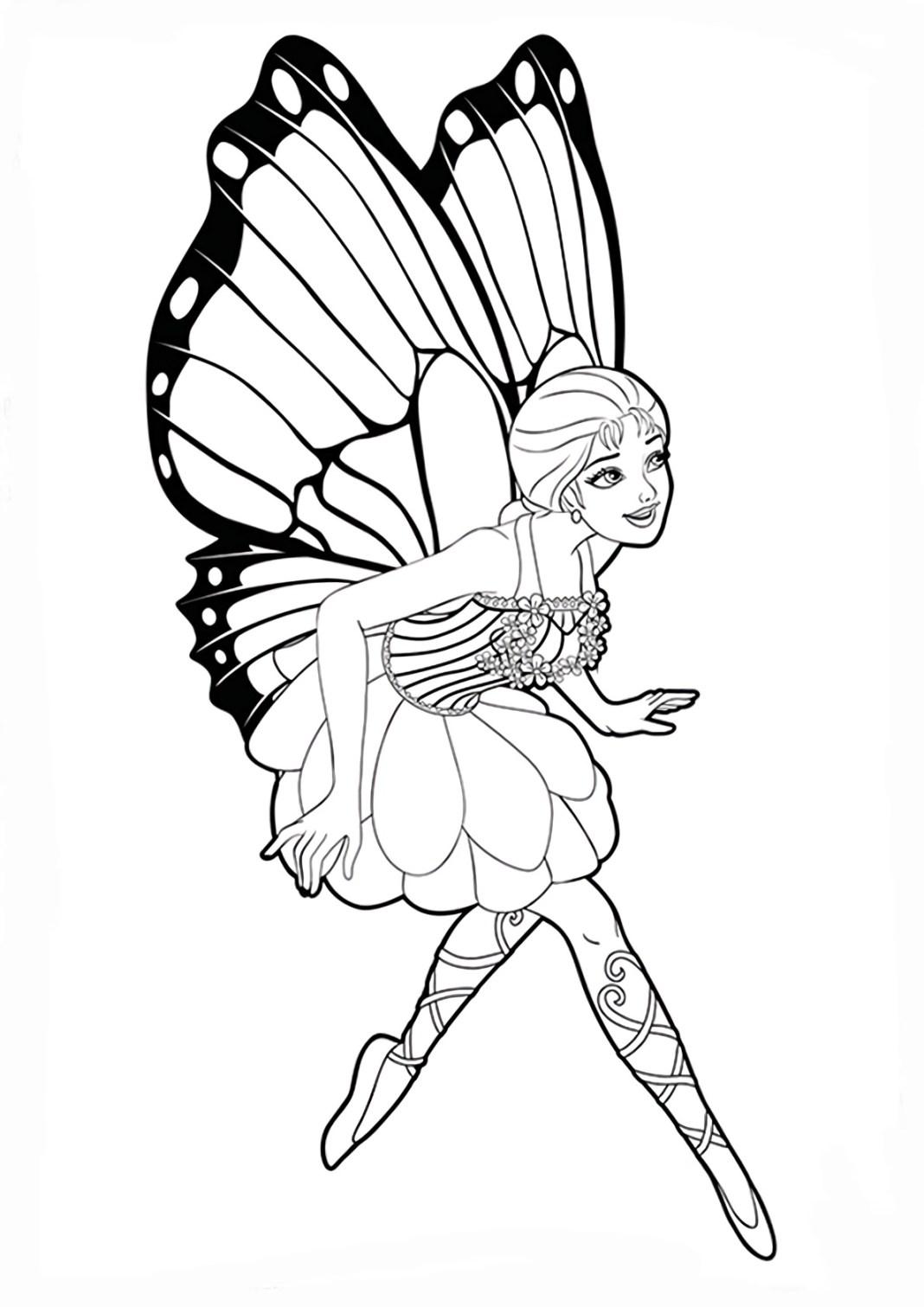 Lindo desenho da Barbie Fada para colorir, pintar e imprimir - Asas de Borboleta e vestido fofo 08