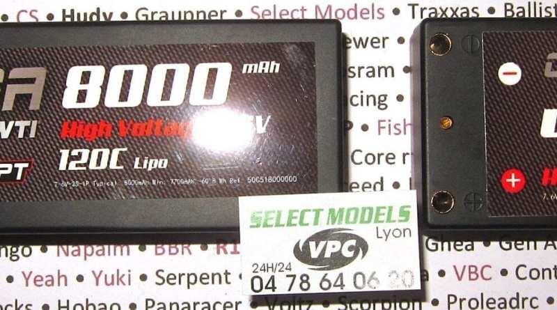 Lipos 7.6V 120C shorty et stick rc concept