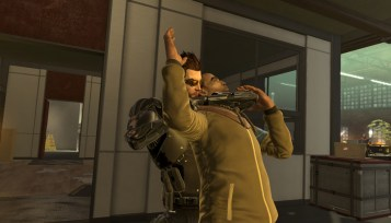 Adam Jensen performing a non-lethal takedown