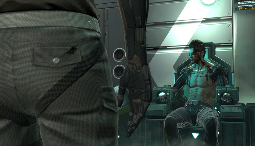 Adam Jensen being interrogated by Keitner in The Missing Link