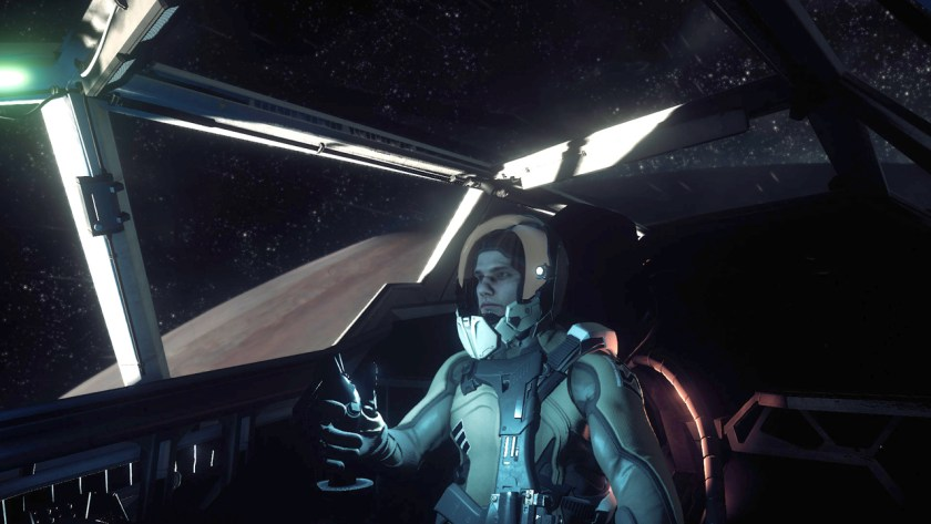 In the pilot seat of a Super Hornet fighter in Star Citizen