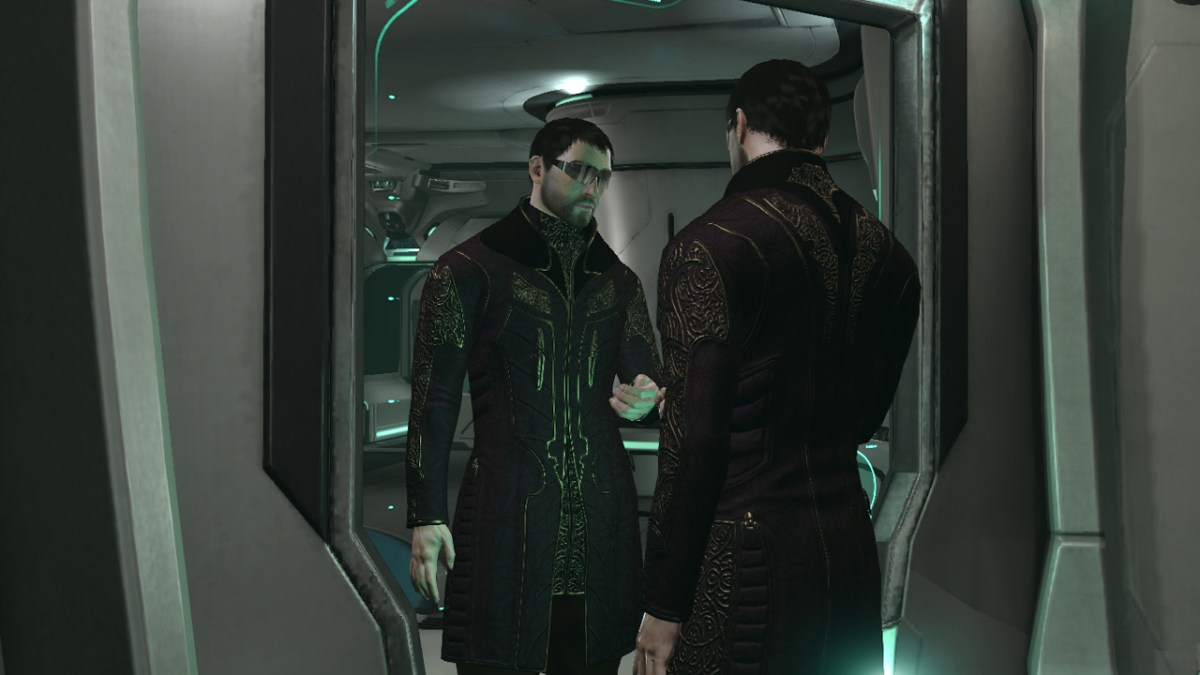 Looking into the avatar customisation mirror in Eve Online