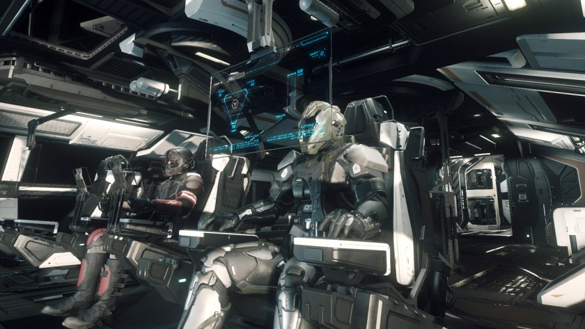 A ship with multiple crew members in Star Citizen.