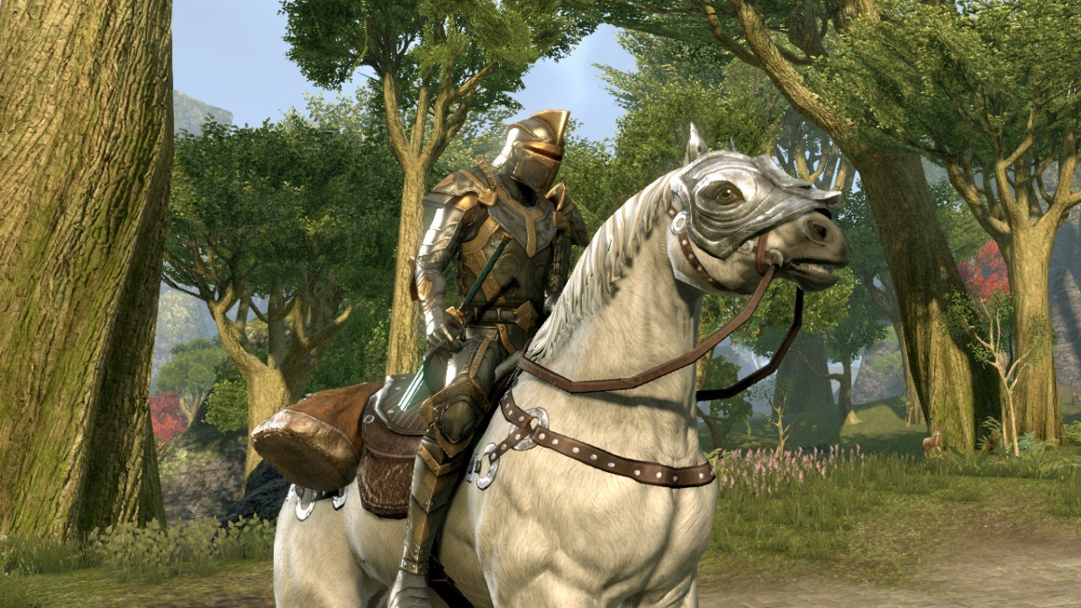 Riding an armoured Imperial steed in The Elder Scrolls Online