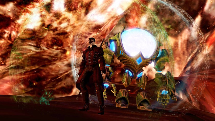 The Commander and Taimi descend deep into the volcano at the centre of Draconis Mons in Guild Wars 2