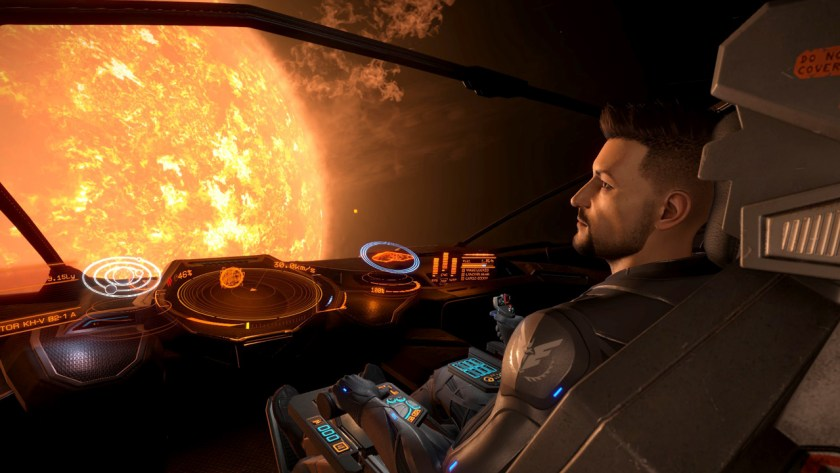 Up close to a star in Elite Dangerous.
