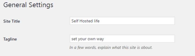 site title, tagline installing wordpress