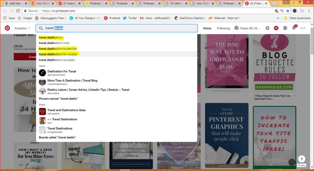 Pinteresr SEO 2018, Pinterest SEO for business marketing, Travel keywords