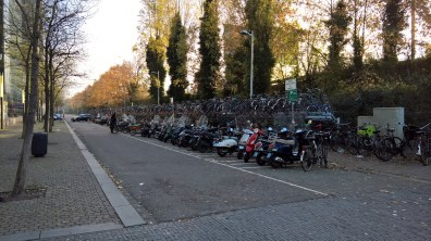 Parking for bicycles in front of Amsterdam Zuid station