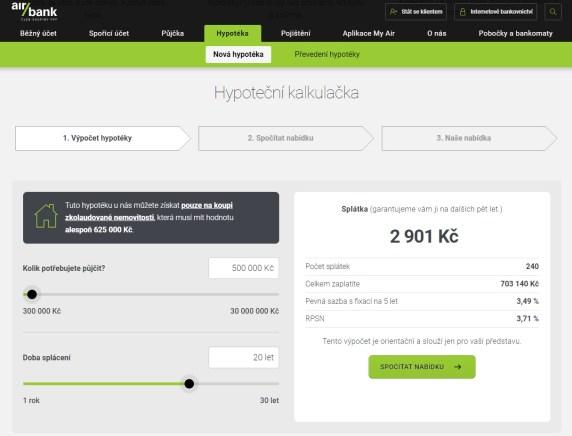 Hypoteční kalkulačka Air bank