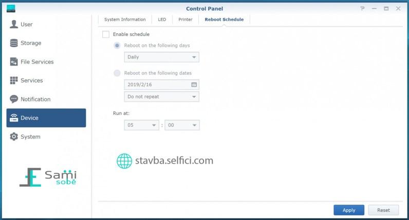 Nastavení automatického restartu routeru Synology RT2600ac