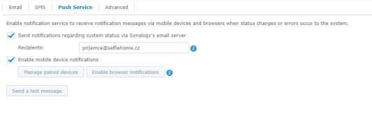Nastavení push notifikací na Synology NAS