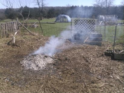 smoldering pile
