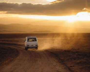 Van Riding Into Sunset