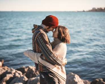 Couple Hugging Sea