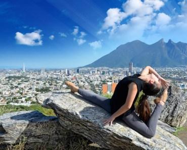 Woman Ballet Yoga Rocks City Landscape