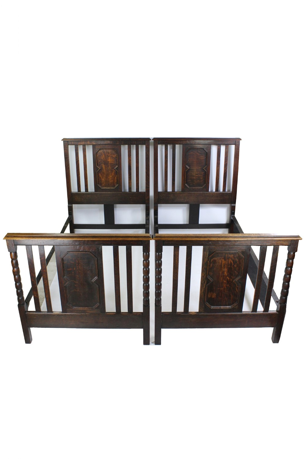 pair of antique edwardian oak single
