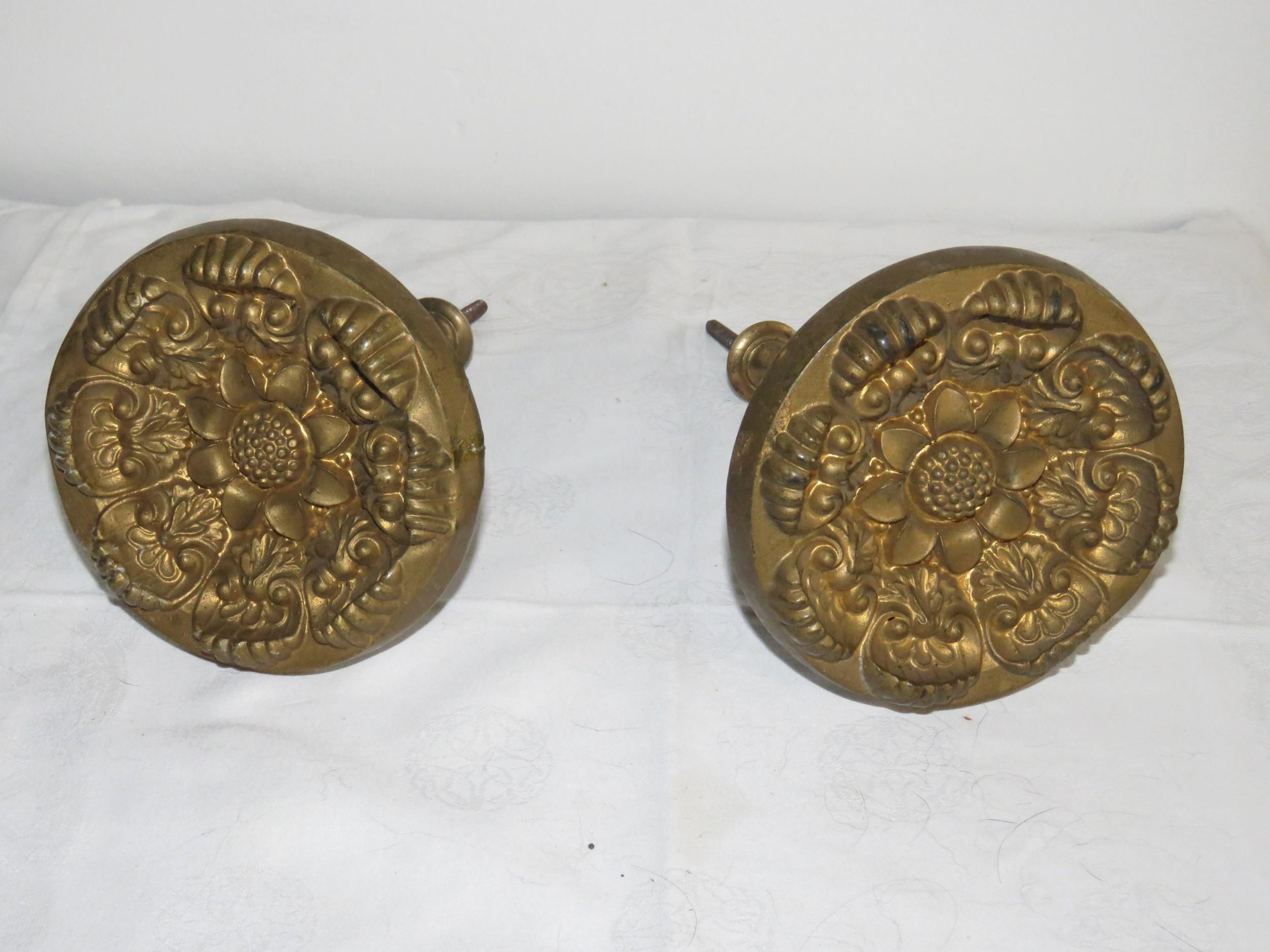 pair of victorian brass curtain tie