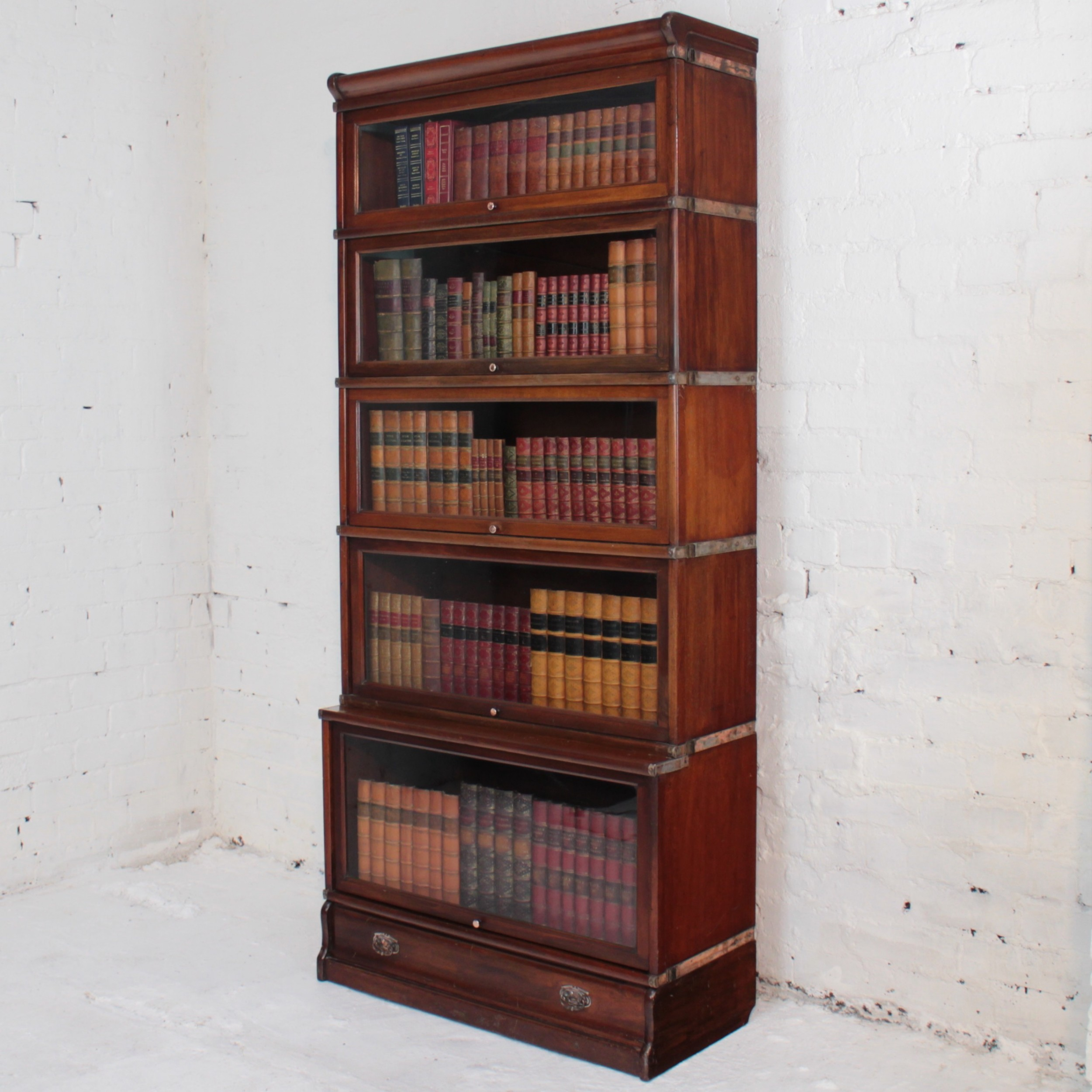 Globe Wernicke Mahogany Five Section Stacking Bookcase C