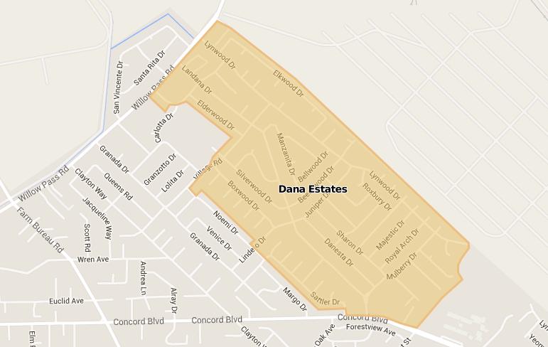 map of dana estates neighborhood in Concord, CA