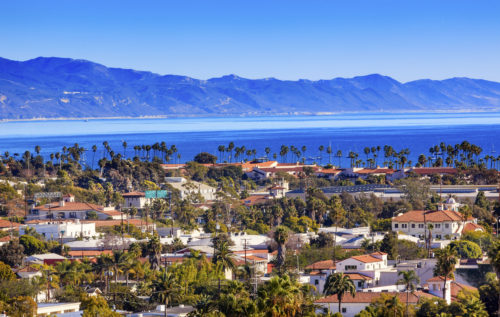 27457495 - orange roofs buildings coastline pacific ocean santa barbara california