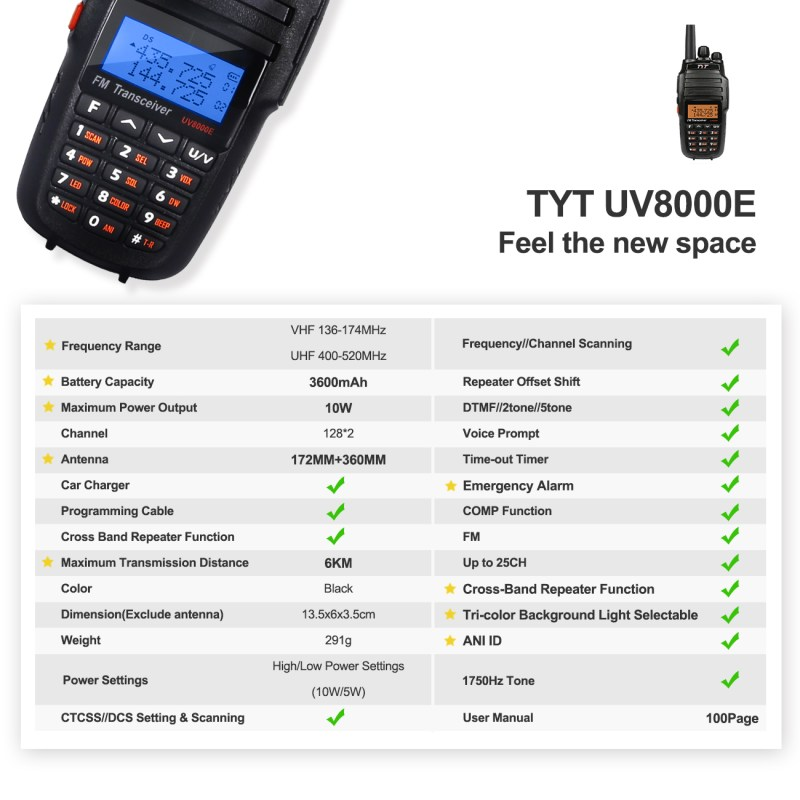 2 x TYT UV8000E Dual Band 3600mAh 10W HP Two-way Ham Radio Transceiver Repeater 2