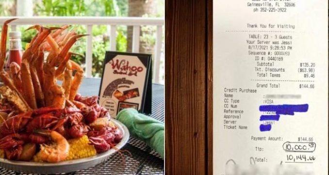 Dejan propina de $ 10,000 dólares para los trabajadores en un restaurante de Florida