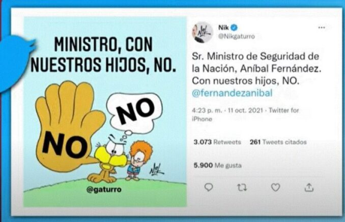 Repudiable amenaza del ministro de Seguridad de la Nación, Aníbal Fernández, al dibujante Nik por pensar diferente