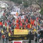 Bogotá: Franja de colores trabajadora en la marcha del 1 de Mayo