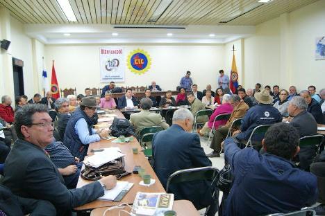 Reunión del Comando Nacional Unitario y la Coordinación de Organizaciones Sociales, en Bogotá, en febrero pasado. Foto archivo.
