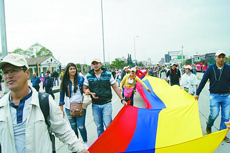 Movilización en Bogotá.