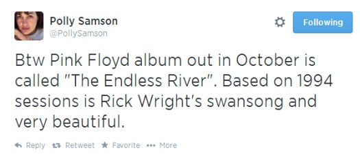 Polly Samson tweets about new Pink Floyd album