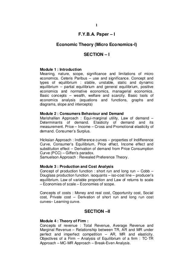 2.1 Economics Worksheet Answers as Well as F Y B A Economics Eng Rev