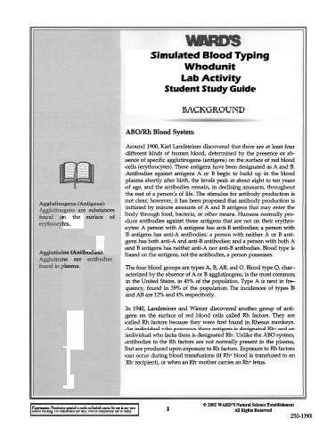 Abo Rh Simulated Blood Typing Worksheet Answers and Neo Sci Teacher S Guide