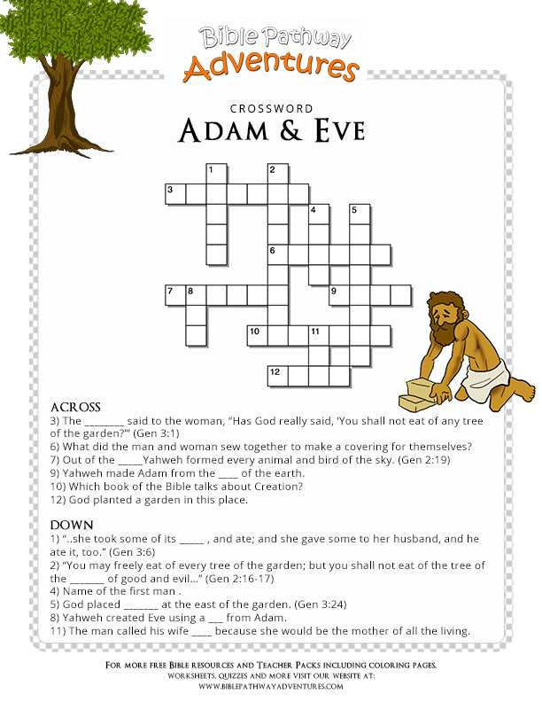 Adam and Eve Worksheets and Free Bible Crossword Puzzle Adam and Eve