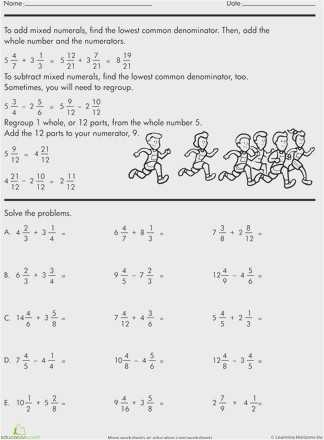 Adding and Subtracting Mixed Numbers Worksheet Pdf Also 31 Subtracting Mixed Numbers Worksheet Graphics