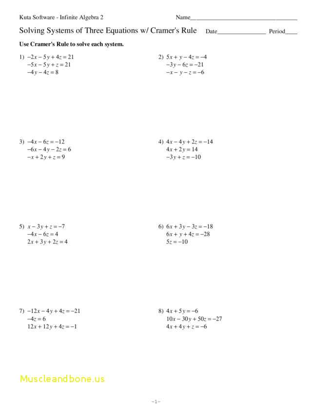 Algebra 2 Systems Of Equations Worksheet with Fresh Systems Equations In Three Variables Word Problems