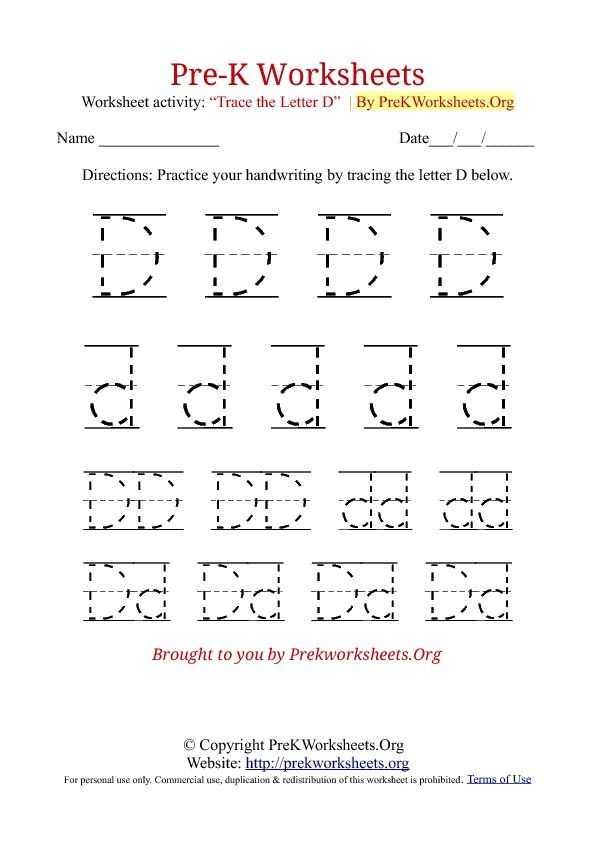 Alphabet Worksheets for Pre K with Pre K Tracing Worksheet D Preschool Pinterest