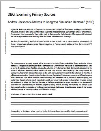 America the Story Of Us Episode 8 Worksheet Answer Key with andrew Jackson Indian Removal 1830 Free Printable Dbq