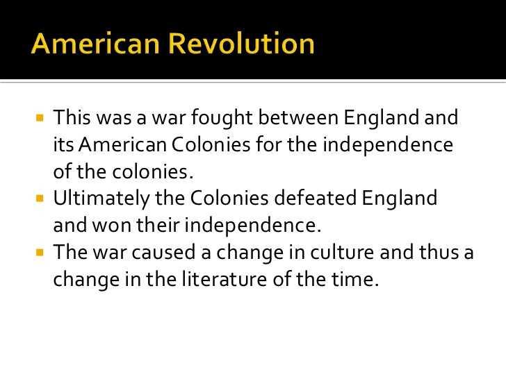 American Revolution Timeline Worksheet or Literature During the American Revolution
