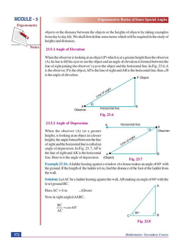 Angle Of Elevation and Depression Trig Worksheet Answers as Well as Trigonometric Ratios Of some Special Angles