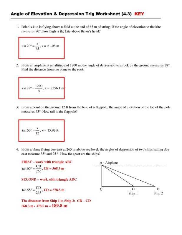 Angle Of Elevation and Depression Worksheet with Answers as Well as Angle Elevation and Depression Worksheet Angle Depression