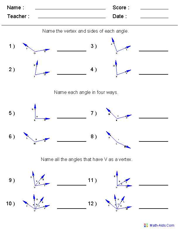 Angles On A Straight Line Worksheet or Naming Angles Worksheets 6th Grade Math Pinterest