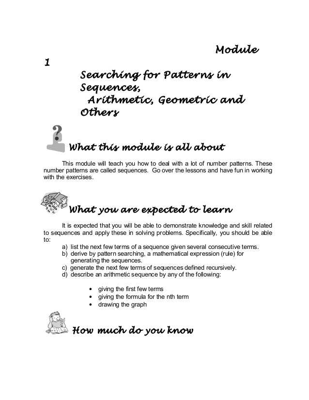 Arithmetic Sequence Worksheet 1 as Well as Grade 10 Math Module 1 Searching for Patterns Sequence and Series
