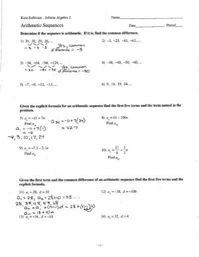Arithmetic Sequence Worksheet 1 together with Arithmetic Sequence Worksheet Arithmetic Sequences and Series