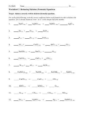 Balancing Chemical Equations Worksheet Pdf or Chapter 8 Balancing Equations Set 3