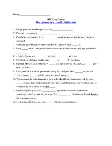 Bill Nye Genes Video Worksheet Answers as Well as Bill Nye the Science Guy Static Electricity Worksheet