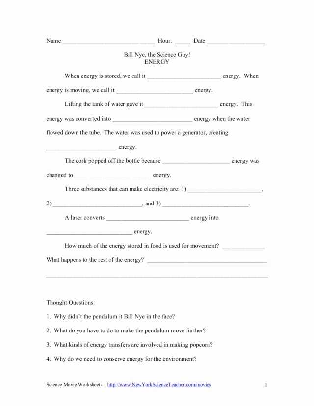 Bill Nye the Science Guy Energy Worksheet Answers together with Kinetic and Potential Energy Worksheet Answers Luxury Bill Nye