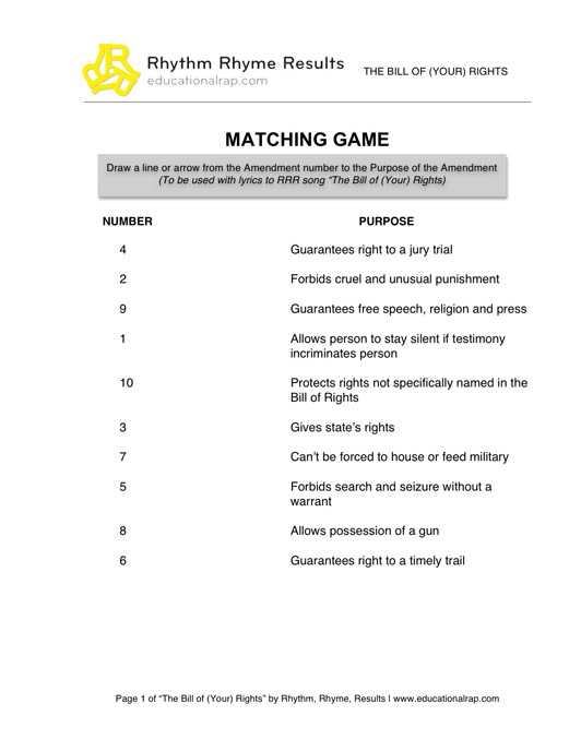 Bill Of Rights Worksheet Answer Key or Printables Bill Rights Worksheet Freegamesfriv Worksheets