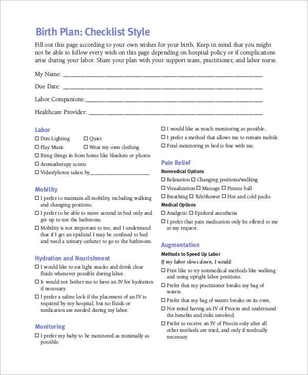 Birth Plan Worksheet Along with Make A Birth Plan Online Guvecurid